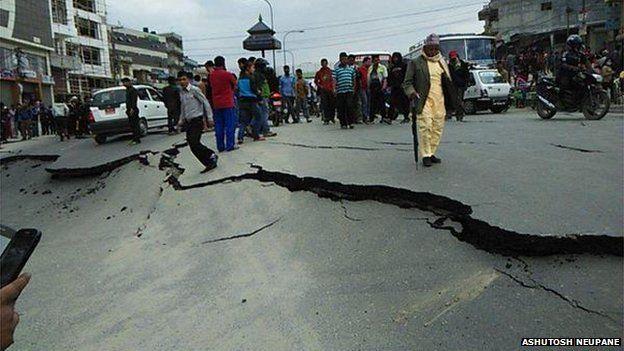 Damaged Roads after Nepal Earthquake by Ashutosh Neupane via BBC Online