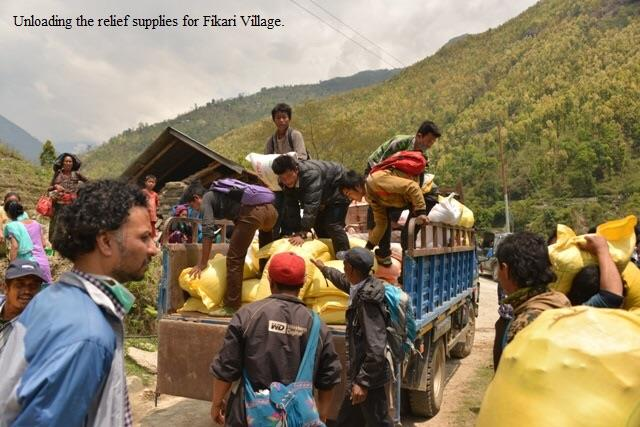 unloading earthquake relief supplies in Nepal
